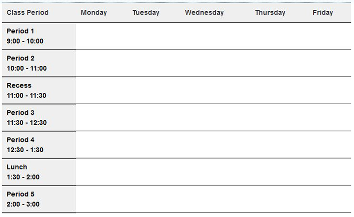 The Woden School Class Timetable
